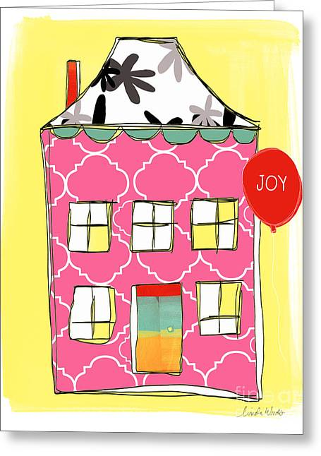 Juveniles Greeting Cards - Joy House Card Greeting Card by Linda Woods