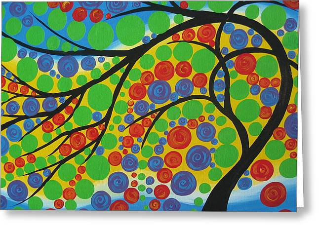 Green And Yellow Abstract Greeting Cards - Joy in the Branches Greeting Card by Cathy Jacobs