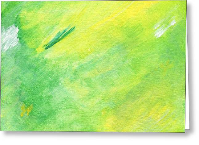 Green And Yellow Abstract Greeting Cards - Joy Greeting Card by Karyn Robinson