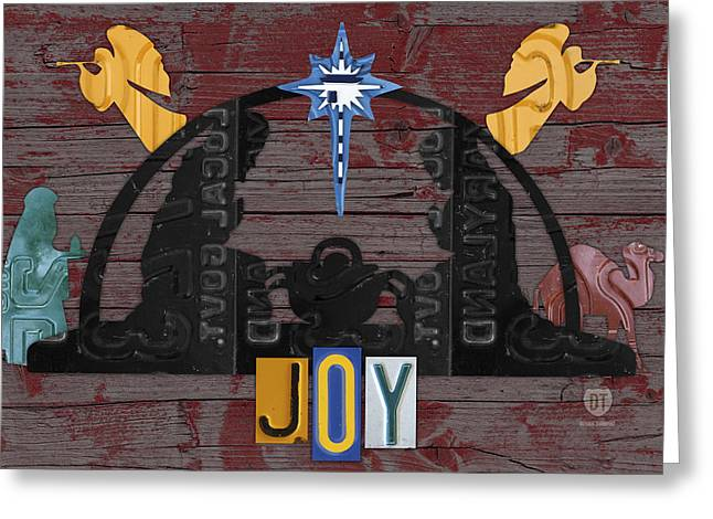 Mary Mixed Media Greeting Cards - Joy Nativity Scene Recycled License Plate Art Greeting Card by Design Turnpike