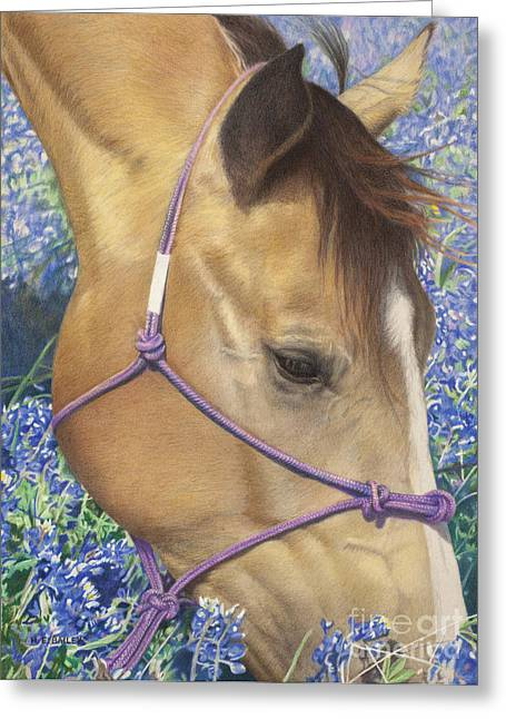 Horses With Nature Greeting Cards - Joy of Spring Greeting Card by Helen Bailey