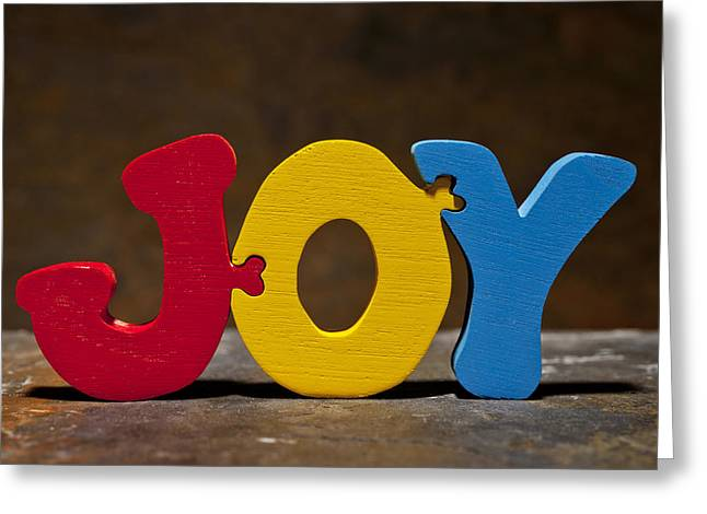 Positive Attitude Greeting Cards - Joy Puzzle Painted Wood Letters Greeting Card by Donald  Erickson