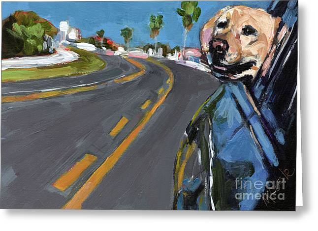 Dog In Window Greeting Cards - Joy Ride Greeting Card by Molly Poole