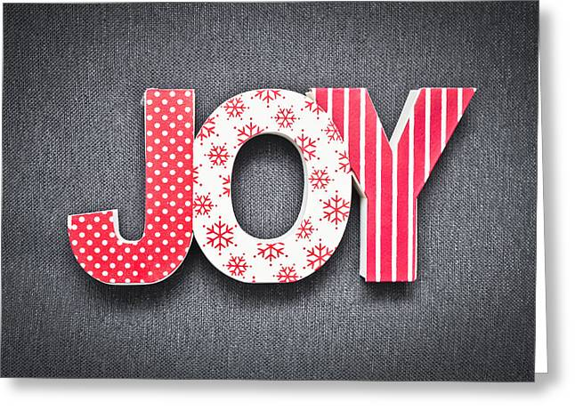 Christmas Cheer Greeting Cards - Joy sign Greeting Card by Tom Gowanlock
