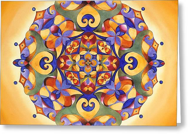 Solar Plexus Chakra Greeting Cards - Joy - Solar plexus Chakra Mandala Greeting Card by Vikki Reed