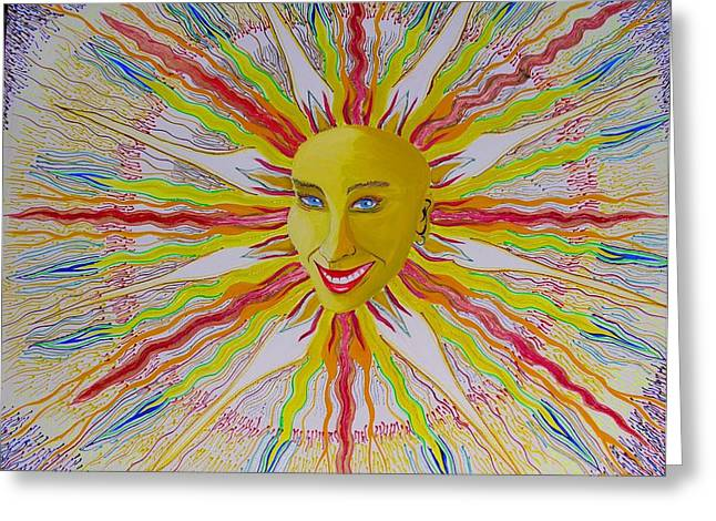 Prisma Colored Pencil Paintings Greeting Cards - Joy Sun Greeting Card by Ru Tover