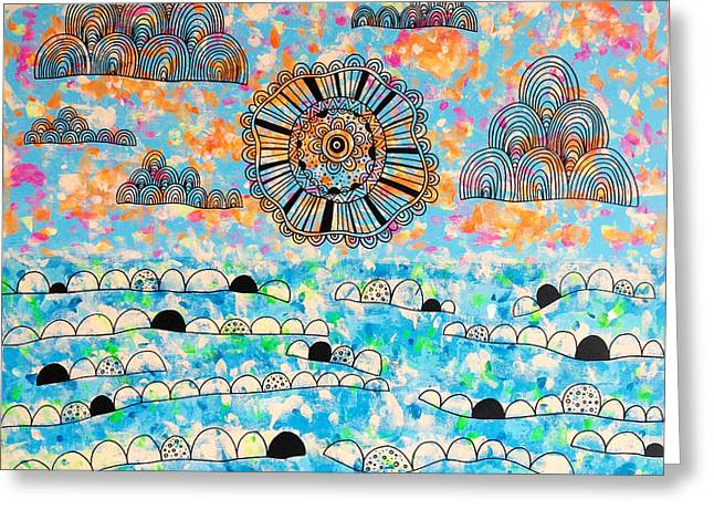 Ink Drawing Greeting Cards - Joy To The Sea Greeting Card by Susan Claire