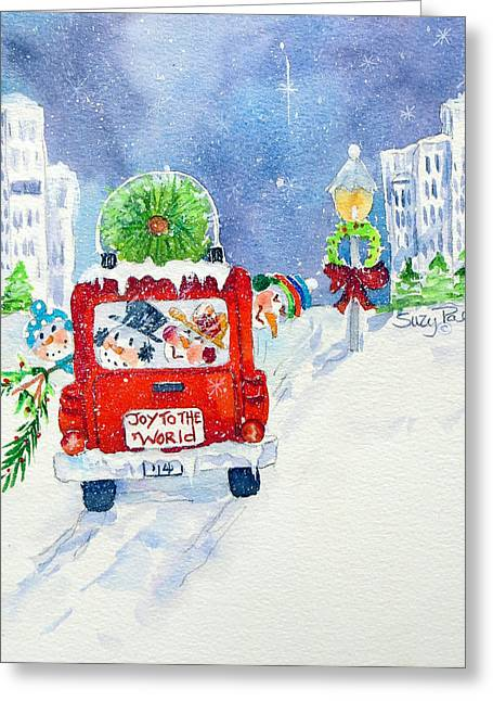 Christmas Art Greeting Cards - Joy to the World Greeting Card by Suzy Pal Powell