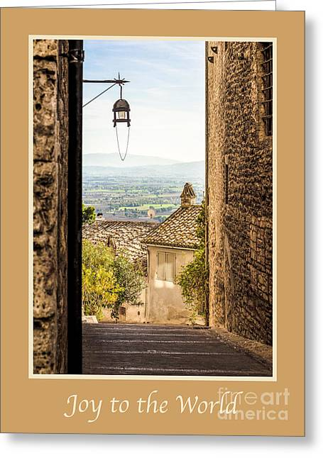 Joy To The World Greeting Cards - Joy to the World with Valley Outside Assisi Greeting Card by Prints of Italy