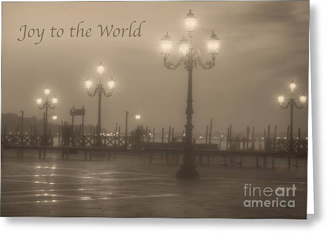 Joy To The World Greeting Cards - Joy to the World with Venice Lights Greeting Card by Prints of Italy