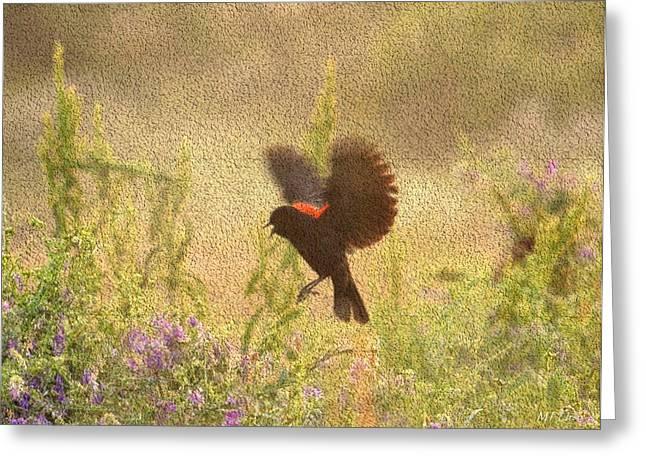 Maria Urso Digital Art Greeting Cards - Joyful Blackbird Greeting Card by Maria Urso