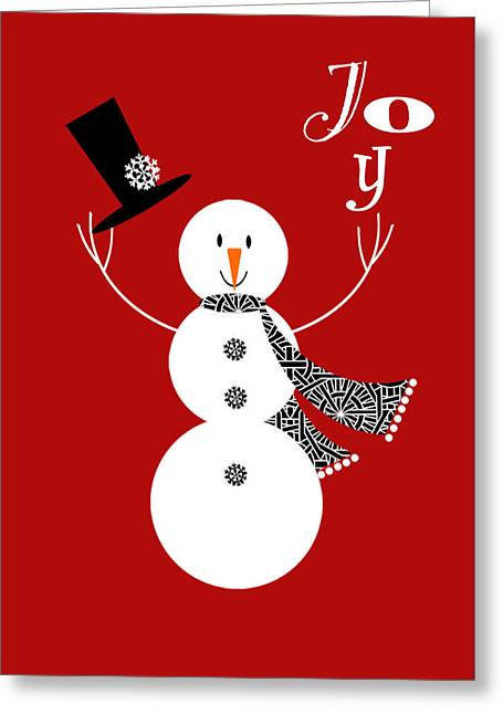 Valerie Lesiak Greeting Cards - Joyful Snowman Greeting Card by Valerie   Drake Lesiak