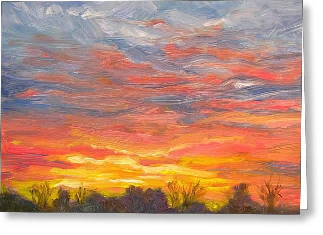 Robie Benve Greeting Cards - Joyful Sunset Greeting Card by Robie Benve