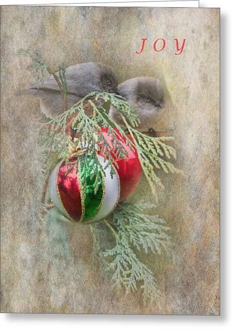 Christmas Greeting Photographs Greeting Cards - Joyous Bushtits Greeting Card by Angie Vogel