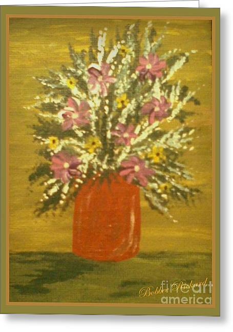 Enhanced Paintings Greeting Cards - Joyous Floral Greeting Card by Bobbee Rickard