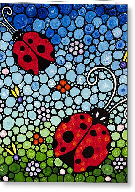 Mosaic Paintings Greeting Cards - Joyous Ladies Ladybugs Greeting Card by Sharon Cummings