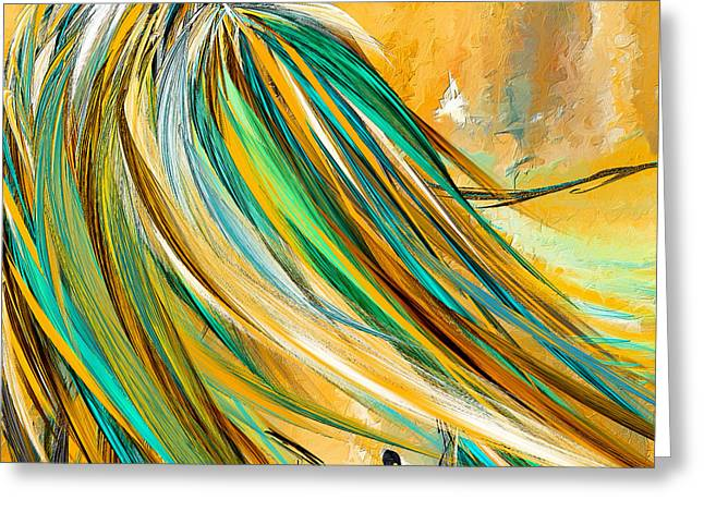 Abstract Equine Greeting Cards - Joyous Soul- Yellow And Turquoise Artwork Greeting Card by Lourry Legarde
