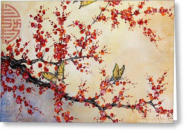Cherry Blossoms Paintings Greeting Cards - Butterfly Blossoms-jp1451 Greeting Card by Jean Plout