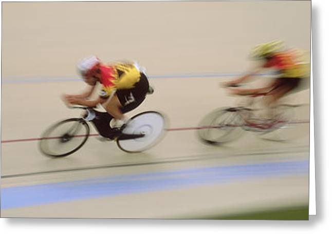 Adversary Greeting Cards - J.puddifoot 845-6x17, Racing Cyclists Greeting Card by Jason Puddifoot