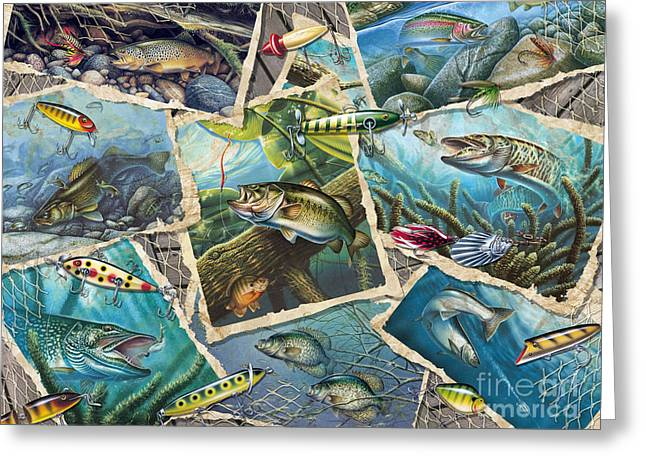 JQ's Fishing Collage Greeting Card by Jon Q Wright
