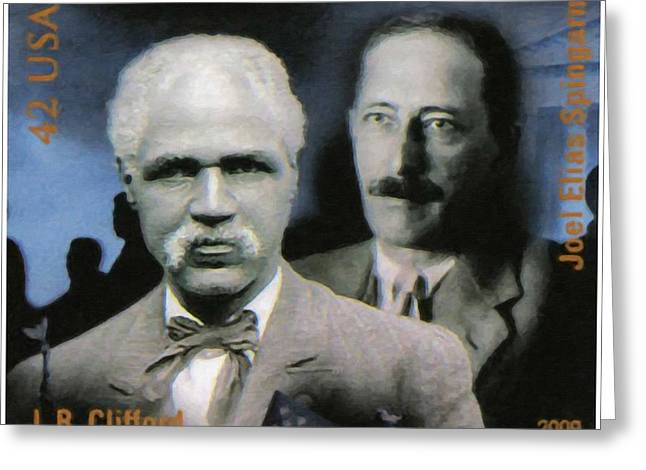 Abolition Paintings Greeting Cards - J.R. Clifford and Joel Elias Spingarn Greeting Card by Lanjee Chee