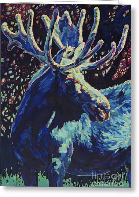 Moose Bull Greeting Cards - Jr Greeting Card by Patricia A Griffin