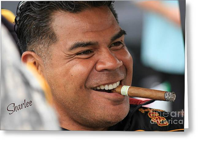 Seau Greeting Cards - Junior Seau Greeting Card by Sharon Johnston
