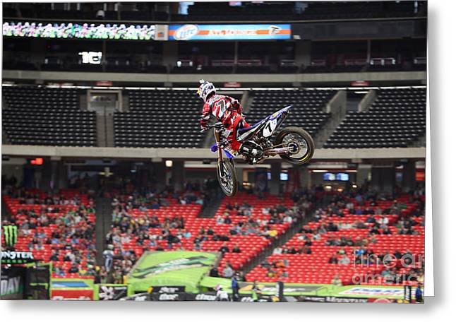 Supercross Greeting Cards - JS7 Tail Whip Greeting Card by David Kittrell