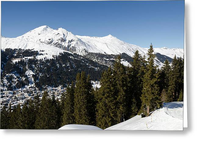 Jschalp Forest Davos Mountains And Town Greeting Card by Andy Smy