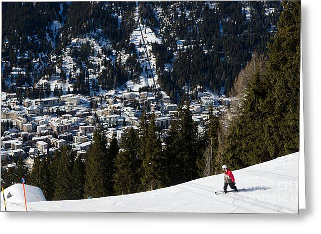 Jschalp Landscape Davos Town And Snowboarder Greeting Card by Andy Smy