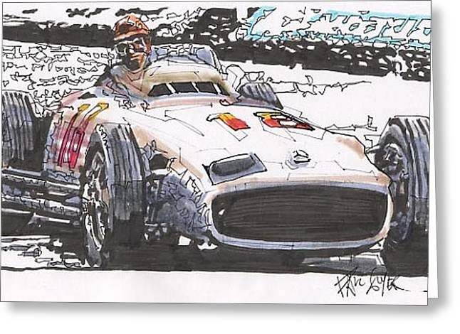 Juan Fangio Mercedes Benz German Grand Prix Greeting Card by Paul Guyer