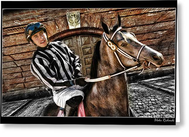 Horse Websites Greeting Cards - Juan Hermandez On Horse  Play N Win Greeting Card by Blake Richards