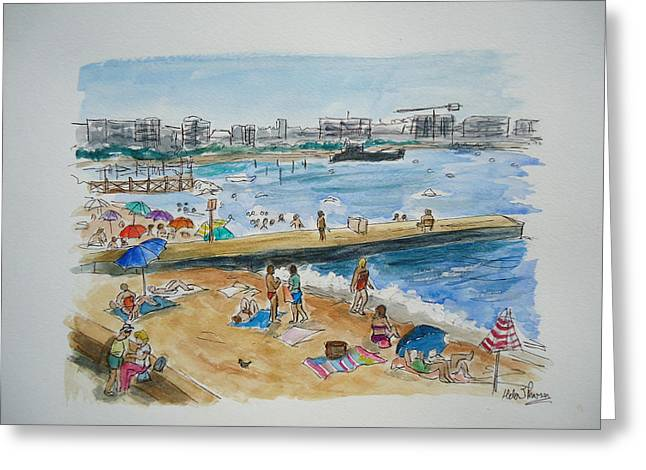 Sunbathing Mixed Media Greeting Cards - Juan Les Pins Greeting Card by Helen J Pearson