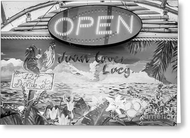 Juan Loves Lucy Key West - Black And White Greeting Card by Ian Monk