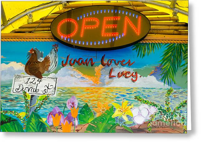 Juan Loves Lucy Key West  Greeting Card by Ian Monk