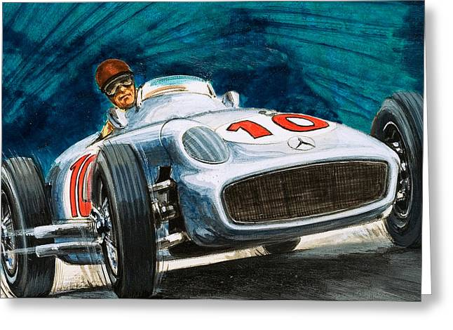 Wheel Drawings Greeting Cards - Juan Manuel Fangio driving a Mercedes-Benz Greeting Card by English School