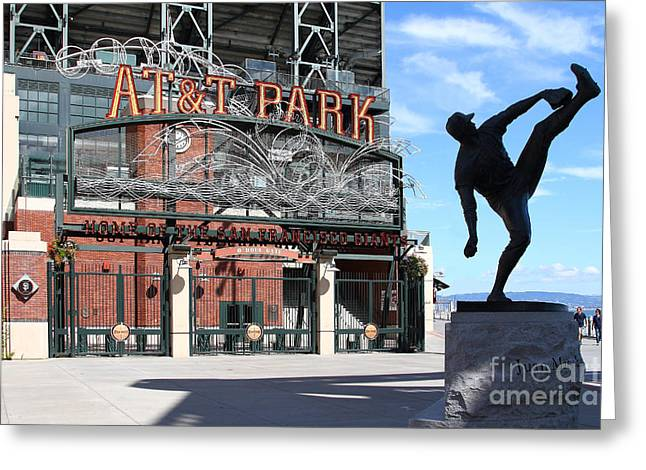 Baseball Stadiums Greeting Cards - Juan Marichal at San Francisco ATT Park . 7D7639 Greeting Card by Wingsdomain Art and Photography