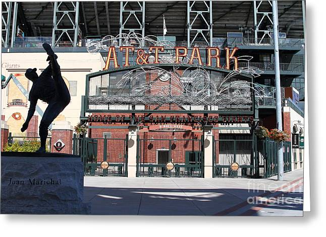 San Francisco Giants Ball Park Greeting Cards - Juan Marichal at San Francisco ATT Park . 7D7640 Greeting Card by Wingsdomain Art and Photography