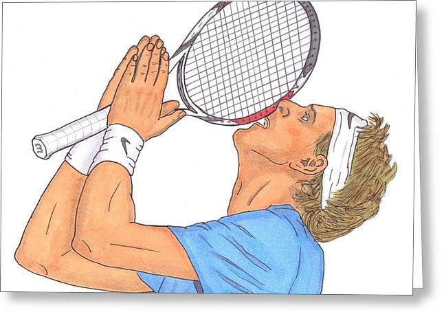 Wimbledon Drawings Greeting Cards - Juan Martin del Potro Greeting Card by Steven White