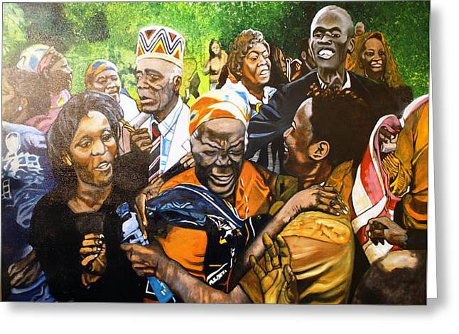 Jubilation Greeting Cards - Jubilation series- Pres Obamas Grandmothers village Greeting Card by Michael Mahue Moore