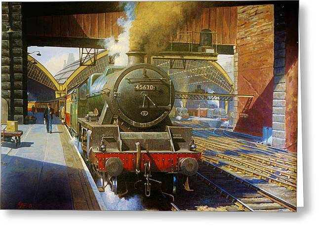 Trains Paintings Greeting Cards - Jubilee 4.6.0 at Liverpool Lime Street. Greeting Card by Mike  Jeffries