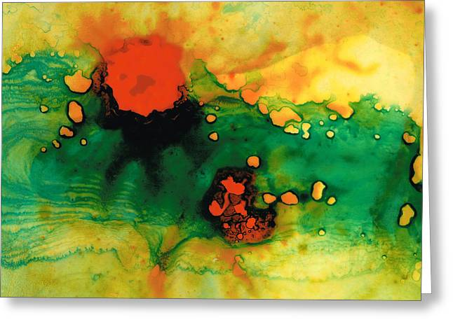 Best Sellers -  - Green And Yellow Abstract Greeting Cards - Jubilee - Abstract Art By Sharon Cummings Greeting Card by Sharon Cummings