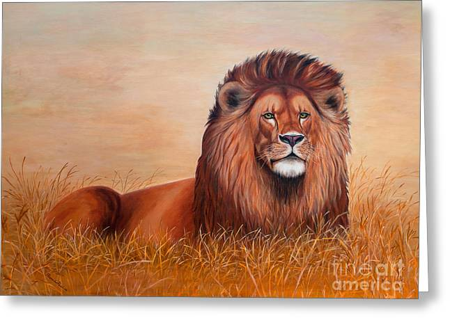 Lions Tapestries - Textiles Greeting Cards - Judah Greeting Card by Blanch Paulin