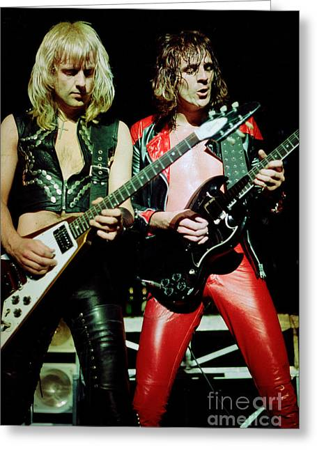 Judas Greeting Cards - Judas Priest at the Warfield Theater during British Steel Tour Greeting Card by Daniel Larsen
