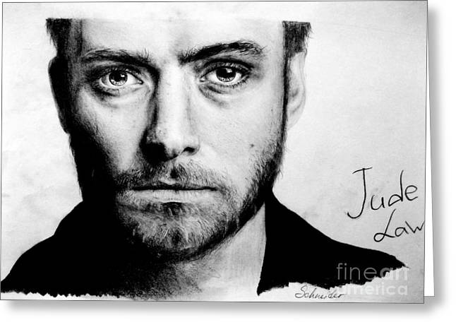 Pencil On Canvas Greeting Cards - Jude Law Greeting Card by Stasya Schneider