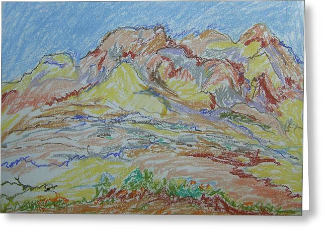 Pastel Mountains Metal Prints Greeting Cards - Judean Hill Landscape Greeting Card by Esther Newman-Cohen