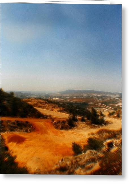 Sand Patterns Mixed Media Greeting Cards - Judean Hills Pop Art Greeting Card by Michael Braham