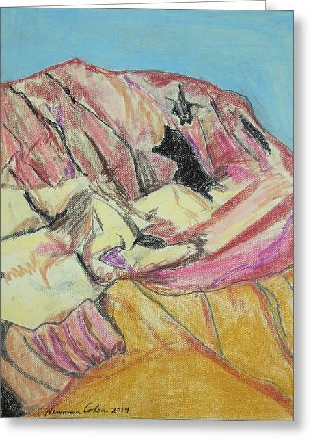Pastel Mountains Metal Prints Greeting Cards - Judean Mountain Caves Greeting Card by Esther Newman-Cohen