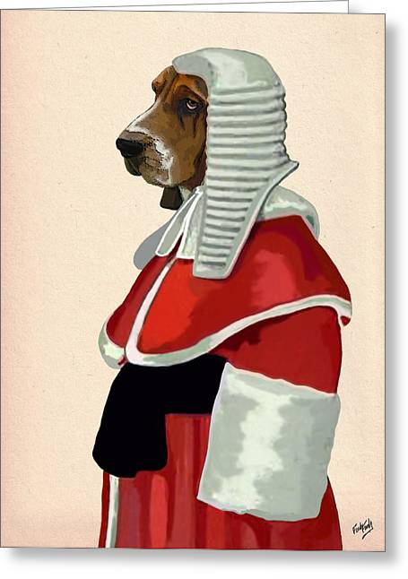 Canine Framed Prints Greeting Cards - Judge Dog Portrait Greeting Card by Kelly McLaughlan