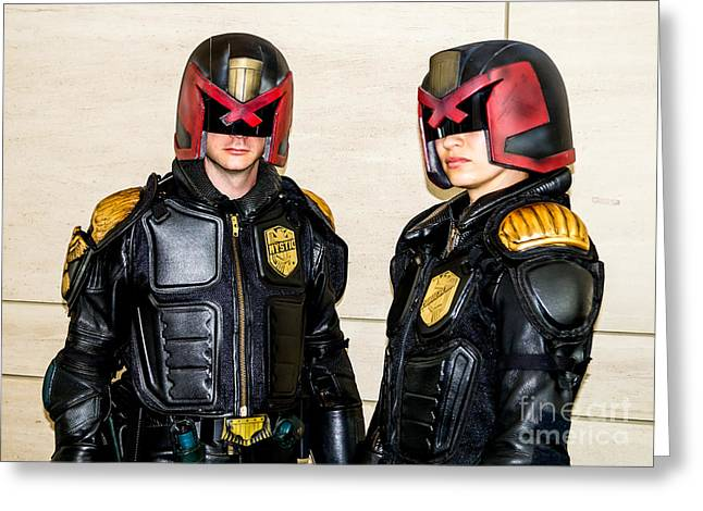 Cosplayers Photographs Greeting Cards - Judge Dredd Cosplay Greeting Card by Arturo Vazquez